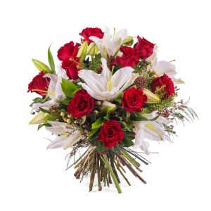 Arrangement of Roses with Lilies